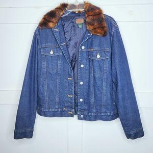 Lauren Ralph Lauren Jean Jacket Fur Collar Boxy